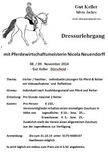 Dressur-Lehrgang für Jugendliche und ggfs. Erwachsene bei Nicola Neuendorff im Stall Jackes November 2014
