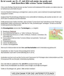 Helferaufruf 2014 - RV Eicherhof Turnier