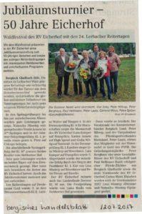 Jubiläumsturnier - 50 Jahre Eicherhof - Bergisches Handelblatt 12.07.2017